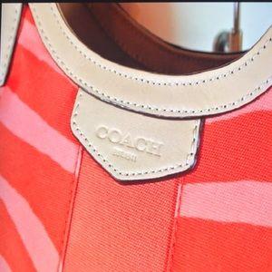 Coach Signature Stripe Zebra Print ShoulderBag